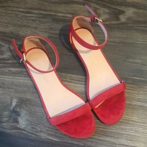 Stuart Weitzman Red Suede Sandals 6.5